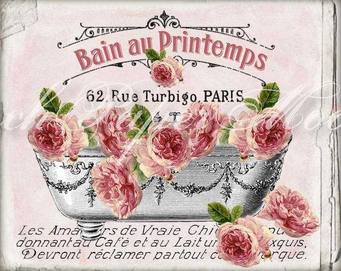 Shabby French Bathtub with Roses, Spring, Printemps, Salle de Bain, French Bathroom Decor Digital Download