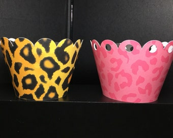 Cheetah Pattern Cupcake Wrappers -Sets of 12