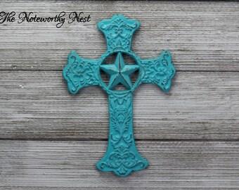 ANY COLOR Iron Cross // Cast iron cross // Religious gift // Christian gifts // aqua cross // aqua decor // cross decor // housewarming gift