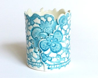 Romantic Ceramic porcelain tea-light candle lantern, romantic lighting, home decor, handmade gift, blue, antique lace, Valentines gifts.