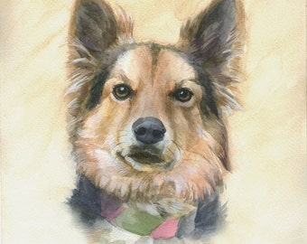 Dog Memorial, Custom Pet Portrait, Watercolor Portrait, Commission Dog Painting
