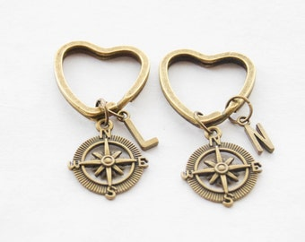 Best Friend Heart Keychains Set of 2 Keychains Compass Keychains BFF Keychains Steampunk Compass Key Rings Personalized initial monogram