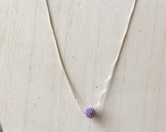 Lilac rhinestone sphere necklace.