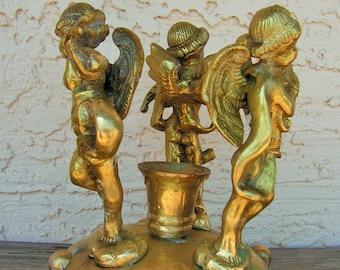 Vintage Brass Cherubs Candlestick Holder Putti Figurine Taper Candle Holder Victorian Style Centerpiece