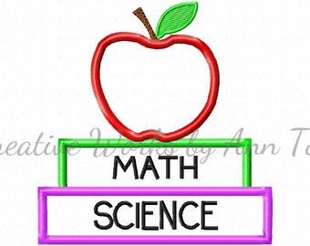 Apple and Books School Applique