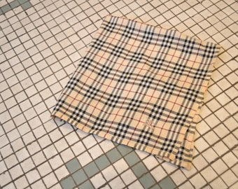 """Burberry Plaid Cotton Handkerchief. Classic Tartan with embroidered Monogram 18"""" Squared."""