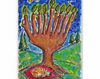 Hanukkah Art, A cat asleep under a Hanukkah tree, Jewish Art, Jewish Holiday Painting, Original Watercolor, Hannukah Gift, Original Painting
