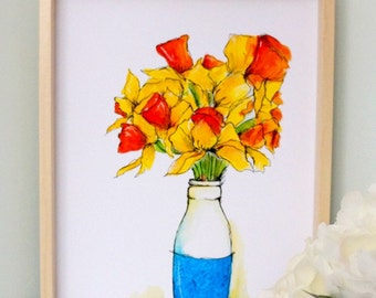 Daffodils Watercolor print