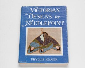 Vintage 1978 Needlepoint Embroidery Pattern Stitch Book - Victorian Designs for Needlepoint by Phyllis Kluger