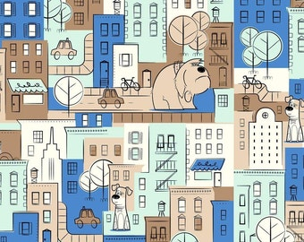 """The Secret Life of Pets Fabric: MAX and DUKE  - City Scenic 100% cotton fabric by the yard 36""""x43"""" (QT345)"""