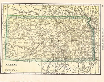1908 State Map Kansas - Vintage Antique Map Great for Framing 100 Years Old