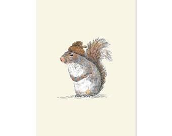 Squirrel with an Acorn Hat, art print 5x7 Animal Art Watercolor Painting, illustration, home decor, Nursery, wall art,  postcard