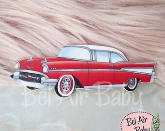 Vintage 1957 Chevrolet Brooch or Fridge Magnet / Pin / Pinup / 1950s / Vintage / Rockabilly / Retro / Car / Chevy / Hotrod