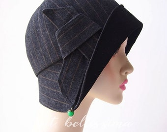 SALE Black 1920s Cloche Hat Vintage Style hat hatbellissima millinery  women's hats  1920's Style hat