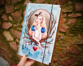 Alice in Wonderland Gift Alice Art Box Decoupage Wooden Case for Regular Size Traveler's Notebook for Storing Your Valuable Notebooks