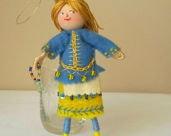 Felt Art Dolls and Miniatures Blue And Lemon Yellow Piksee, Felt decoration