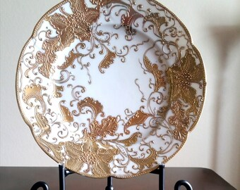 Vintage Nagoya Japanese Porcelain Hand Painted Gold Baroque Display Plate