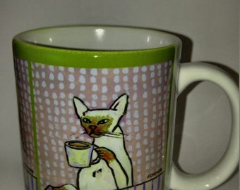 cat art - Siamese cat at the cafe coffee shop 11 oz art mug cup gift artowkr, cat gifts, gift