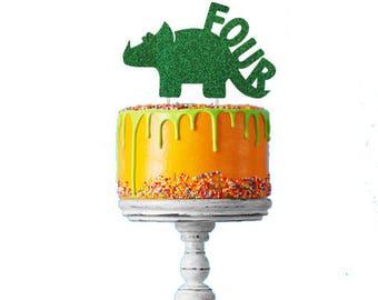 Dinosaur 4th Birthday Cake Topper - Number Four Dinosaur Cake Topper - Glittery Green Cake Topper - Boys Cake Topper