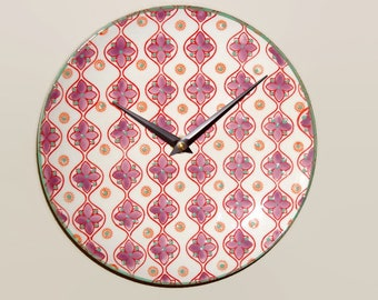 8 Inch Retro Patterned Wall Clock in Dusty Lilac Red Orange and Mint Green, Ceramic Plate Clock, Kitchen Wall Decor, Unique Wall Clock  2322