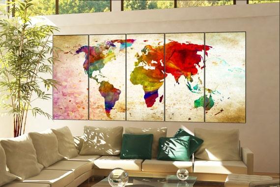 world map large  print on canvas wall art world map large  decor Print artwork large world map  home office 5 panel