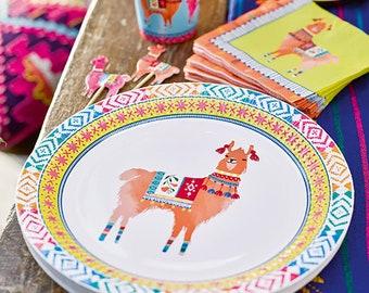 Llama Party Plates -Large | Boho Llama Birthday Fiesta Party Alpaca Birthday Bridal Fiesta Cactus Party Llama Llama Baby Shower Paper Plate