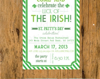 St. Patty's Day Invitation - The Luck of the Irish - Print Your Own St. Patricks' Day Invitation