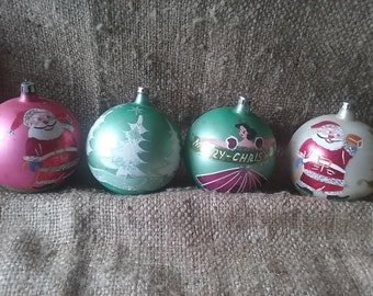 Vintage 1950's Set Of 4 Large Christmas Ornaments, Made In Poland Hand Painted