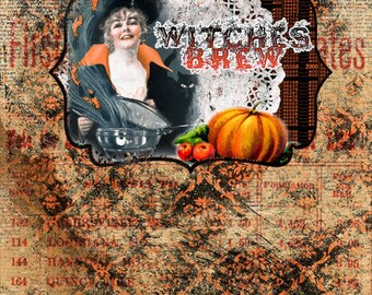Halloween Printable -  DIY Junk journal Kit - Witches Brew - 18 Journal Pages -  vintage junk journal, halloween cliparts, clipart halloween
