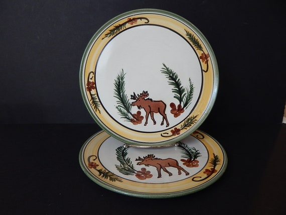 & Set of 2 Stoneware Specialities Dinner Plates Moose