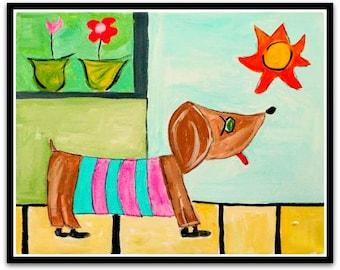 Weiner Dog Folk Art Happy Art Kids Art 11x14 Acrylic Paint on CANVAS Original whimsical Art