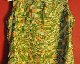 vintage top abstract multicolor green orange size L