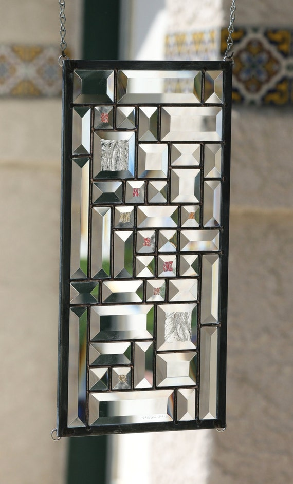 Stained glass window starlight clear beveled stain glass for 15 panel beveled glass door