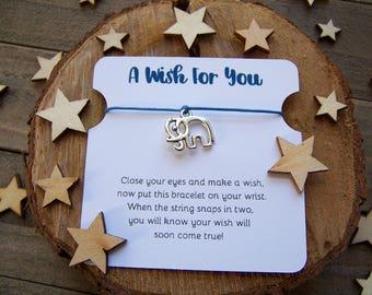 Silver Elephant Wish Bracelet, Silver Wish Bracelet, Elephant Friendship Bracelet, Elephant Jewelry, Elephant Gift, Elephant Charm Bracelet