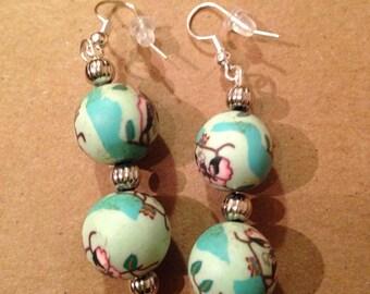 Green clay beads ear rings