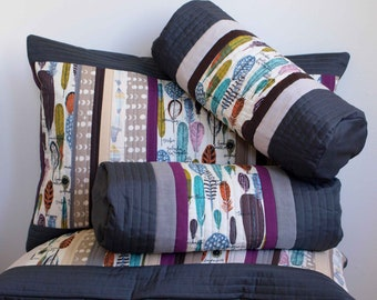 Reserved for Kristine, custom organic cotton patchwork pillowcases in Birds of a Feather