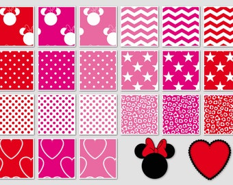 016 MINNIE MOUSE inspired digital paper pack for scrapbooking, albums, cards and crafts