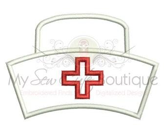 Nurse Applique Design - Nurse Hat Applique - 10 Sizes - Instant Download
