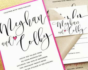 Wedding Invitation, Wedding Invite, Calligraphy Wedding Invitations, Kraft Wedding Invitations, Wedding Invitation Suite, Rustic Invitation