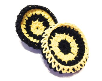 Yellow And Black Crocheted Cotton And Nylon Netting Dish Scrubbies-Pair