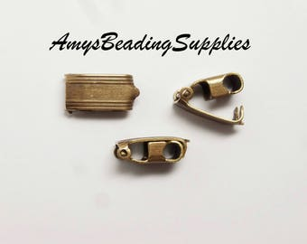 2 Clasps Vintaj Natural Brass Bracelet Foldover Clasp - 13x6.5mm (CL0001)