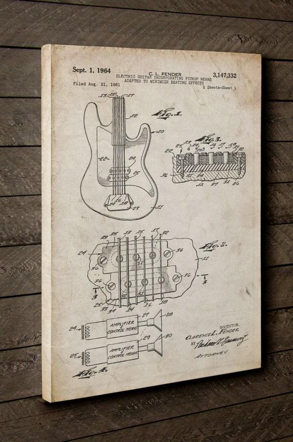 Fender Gitarre Pickups Leinwand Kunst Leinwand-Wand-Dekor