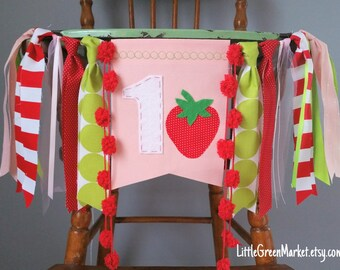 Strawberry shortcake birthday banner flag only*, highchair banner, strawberry themed party, smash cake photo shoot prop