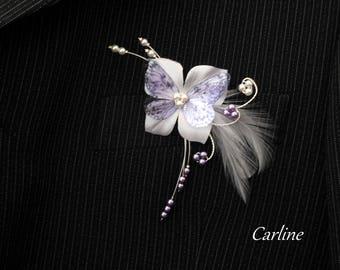 Purple white flower silk tie - Leila man groom brooch boutonniere-