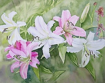 My Lillies Original 12 x 16 in Watercolor Painting pink, white and green colors,
