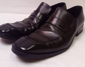 Vintage Mid 90's GUCCI Men's Black Leather Split Toe Loafers Shoes Size 11.5 D