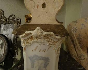 SALE Vintage Shabby Cottage Salt Cellar Holder
