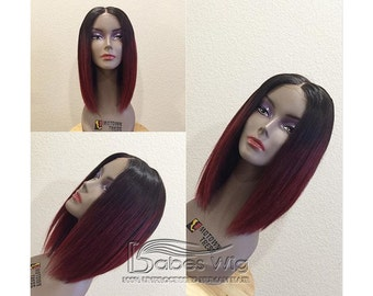 Short Human Hair Red Ombre Hair Color Human Hair Lace Front Wigs & Gluelss Full Lace Wigs Ombre Color Bob Wigs