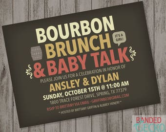 Bourbon Brunch & Baby Talk Couples Baby Shower Invitation, Printable baby shower invitation, digital download, brunch baby shower invitation