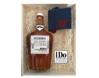Groomsman Liquor Flask with Labels - Mustache Collar - Liquor Flask - Hinged Flask Bottles - 500ml - 17oz -  Bottle & Labels